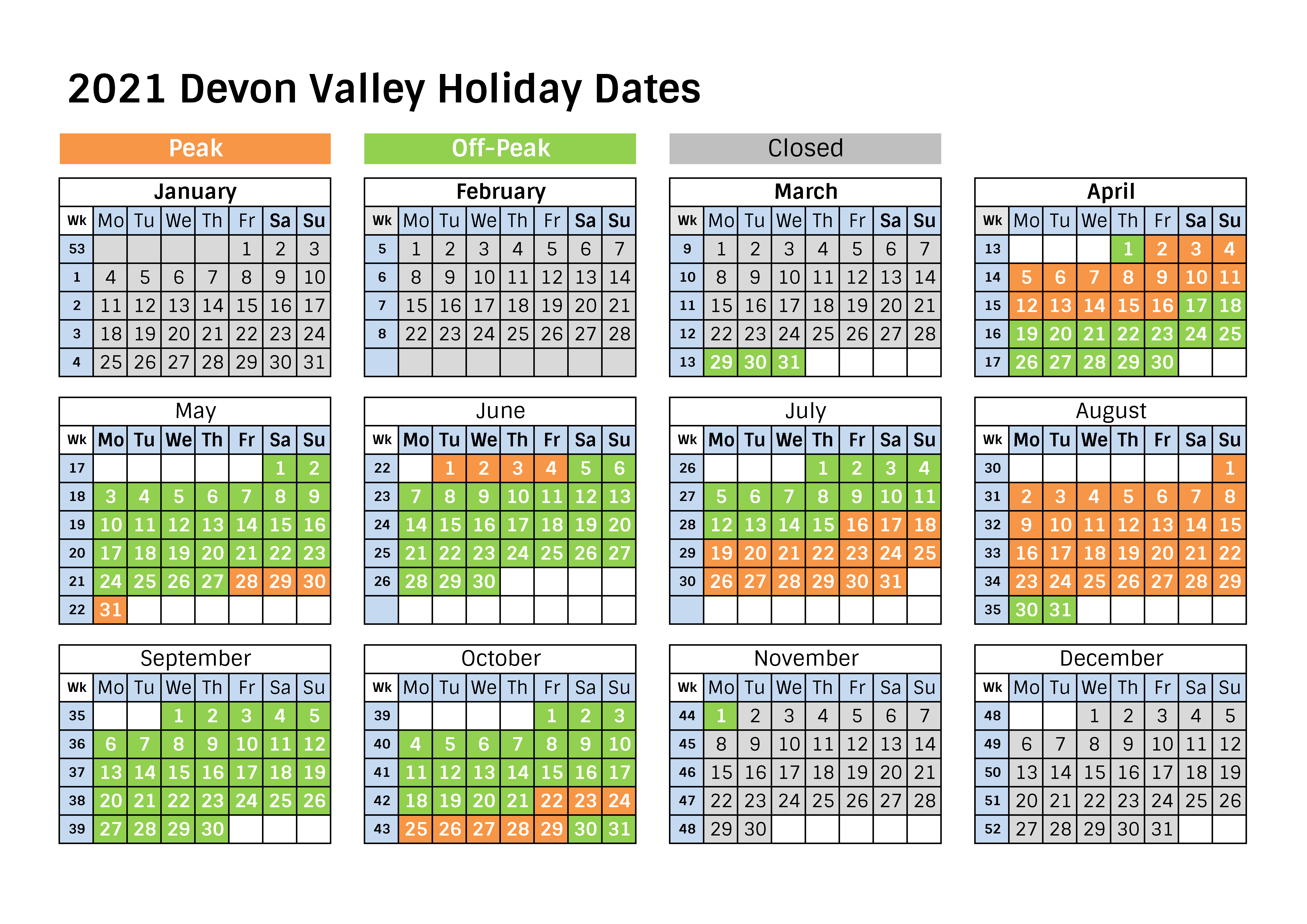2021 holiday dates
