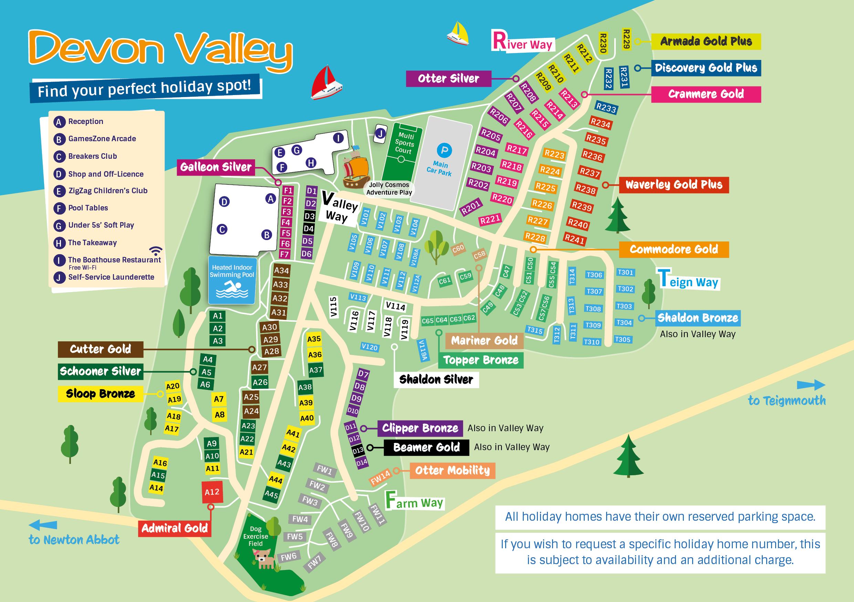 devon valley holiday village park map. Black Bedroom Furniture Sets. Home Design Ideas